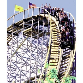 "Cliff's Amusement Park, featuring the ""New Mexico Rattler"" one of the Top 25 Wooden Roller Coasters in the world."