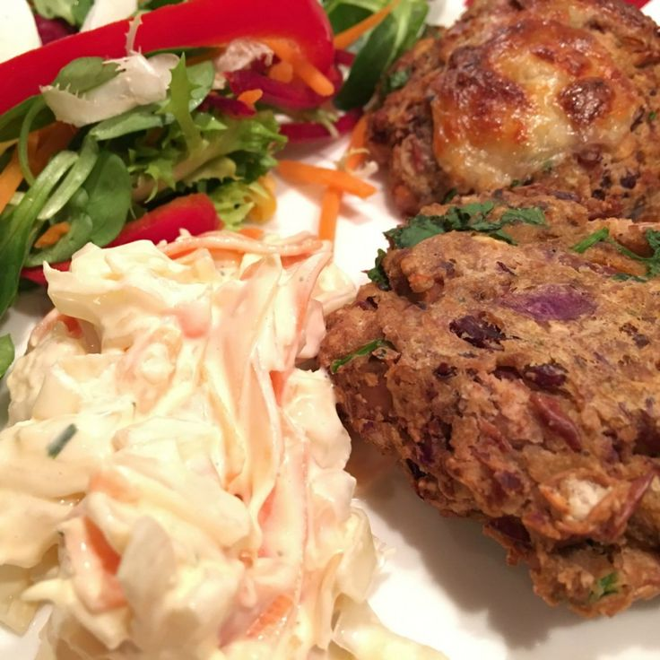 Madras bean burgers with mozzarella salad and coleslaw. The recipe made enough for three days
