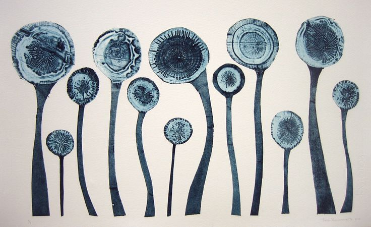 Ice Flowers - Tessa Horrocks - London Printmaking Artist - Collagraph