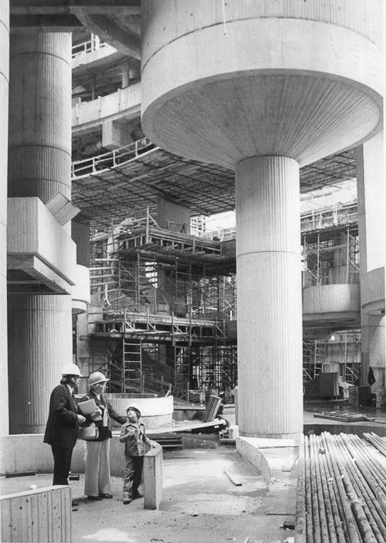 The construction site of the Renaissance Center. 1974
