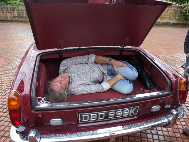 James May in a trunk.