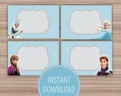Frozen Birthday Themed Childrens Party - Food Labels - Organized - Food Tents - Frozen Party Favors - Disney Frozen - Printables - Crafts - Kids Crafts - DIY Crafts - Printable Labels - Label Shapes - Free Printable
