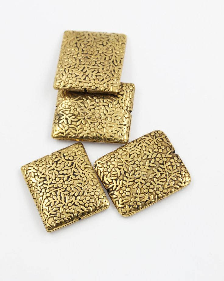 Square metal beads, 28x24x4mm. Sold individually - Auckland Beads NZ , beads and jewellery supplies wholesale