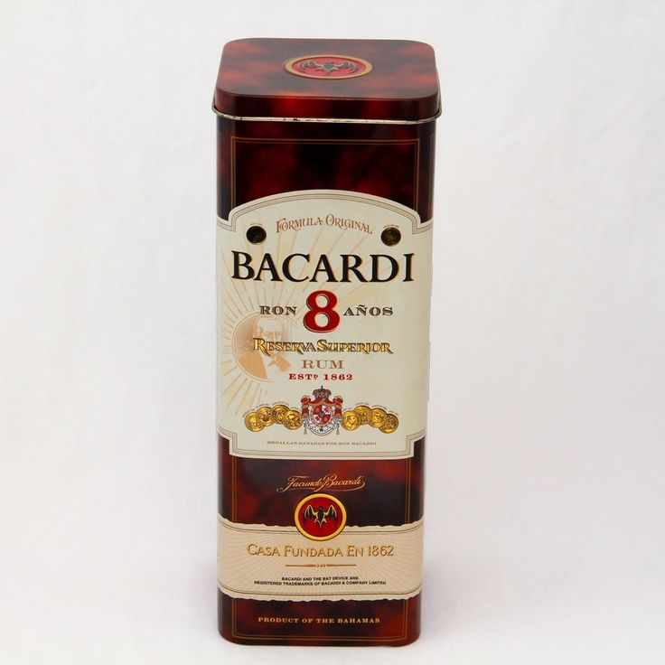 Bacardi 8 Years Superior Rum (empty) Tin Metal Packaging 28.3cm Tall Excellent