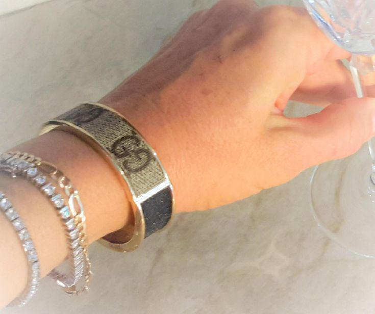 Handcrafted, Custom made Hinge Cuff Bracelet with re-purposed authentic Gucci monogram canvas up-cycle, HandmadeCustom made, Handmade by FabulousFindsOnline, $75.00 USD