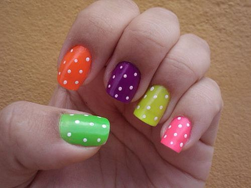 polka cute nail designs for short nails Cute Nail Designs For Short Nails