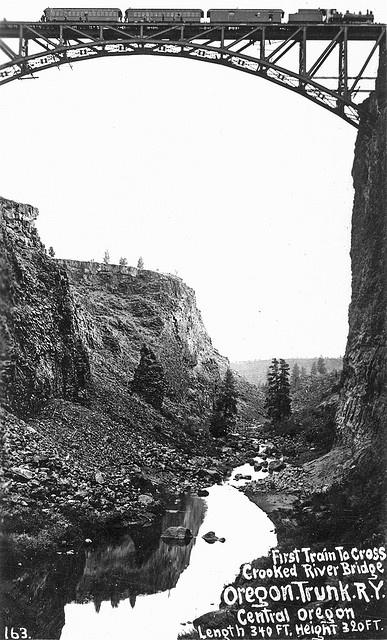 First train to cross the Crooked River Bridge, Oregon Trunk Railroad, Central Oregon - Madras, Oregon