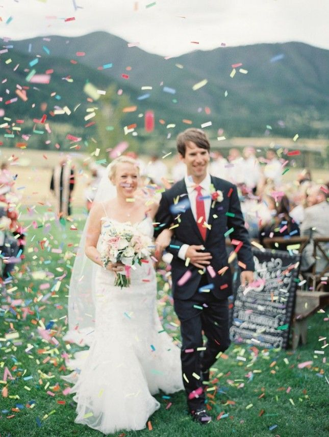 Swap the rice for confetti as a wedding send-off for the non-traditional bride who knows how to party.