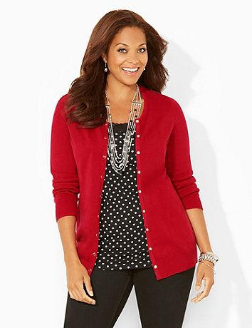 Fall in love with our essential cardigan in an assortment of seasonal colors. Comfortable knit fabric keeps you cozy all day long. An easy, snap-button placket completes the front so you can wear it by itself or layer it over a top or tank. Features fitted ribbing detail at the scoop neckline, hem and ends of the long sleeves. Catherines tops are designed for the plus size woman to guarantee a flattering fit. catherines.com