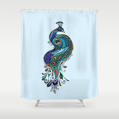 Stunning Peacock Shower Curtain