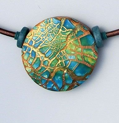 Pendant made by Jeanette Kandray using Kroma Crackle Medium. See the tutorial at sculpey.com
