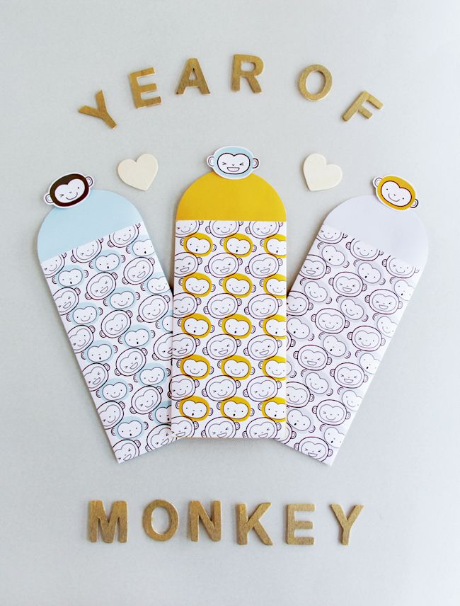 FREE Printable Year of Monkey Red Packets | DESIGN IS YAY!