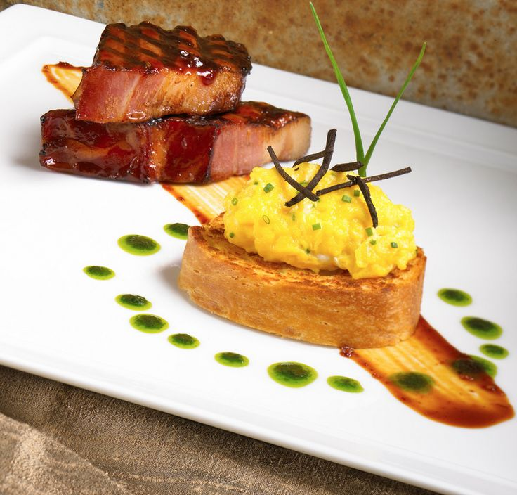 """""""BACON AND EGGS"""" WITH NIMAN RANCH BACON AND DUCK EGGS - by Kent Rathbun"""