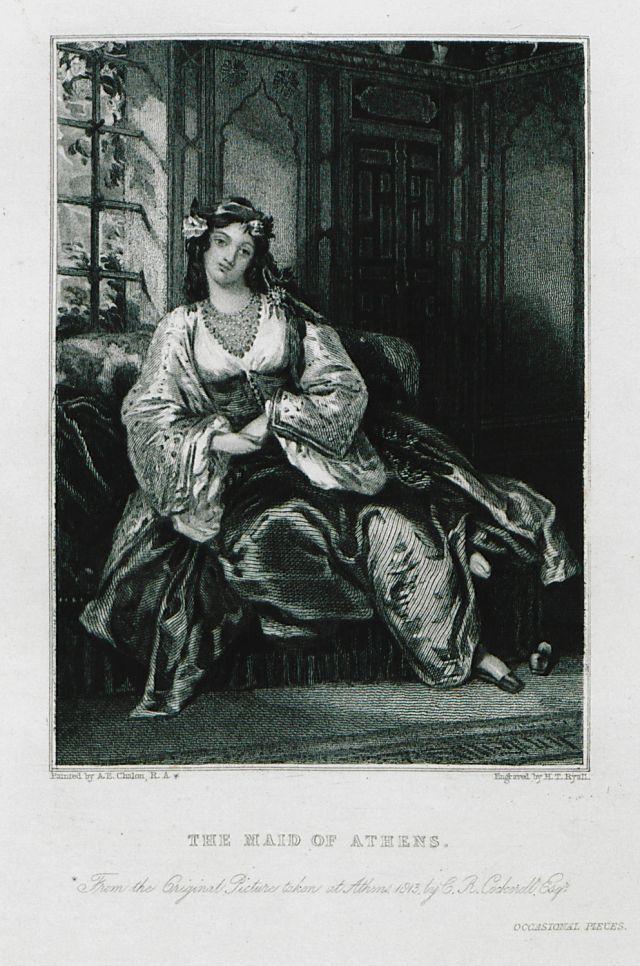 """Εικονογράφηση για το ποίημα """"The Maid of Athens"""": Η Τερέζα Μακρή, πλατωνικός έρωτας και ποιητική μούσα του Λόρδου Βύρωνα κατά την παραμονή του στην Αθήνα. The Maid of Athens. Χρονολογία έκδοσης:1849 BYRON, George Gordon, Lord. The Poetical Works of Lord Byron. With notes, and a memoir of the author, Λονδίνο, George Henry and Co., [1849]."""