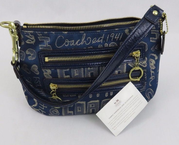 Coach Poppy Metallic Gold Blue Small Shoulder Bag Purse Evening Handbag EUC! #Coach #SmallShoulderBag