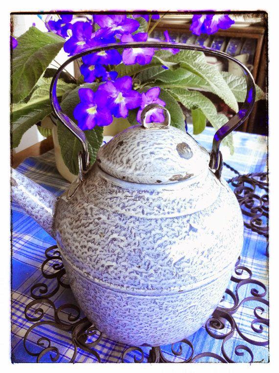 Vintage enamelware graniteware big teapot by PawhillTreasures