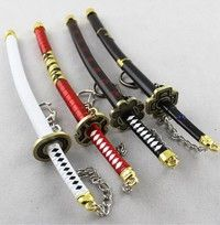 Wish | 4pcs Collectible crafts Japanese Doll Miniature Katana Samurai Sword w/ Scabbard and Stand--key chain--Not sharp--22cm