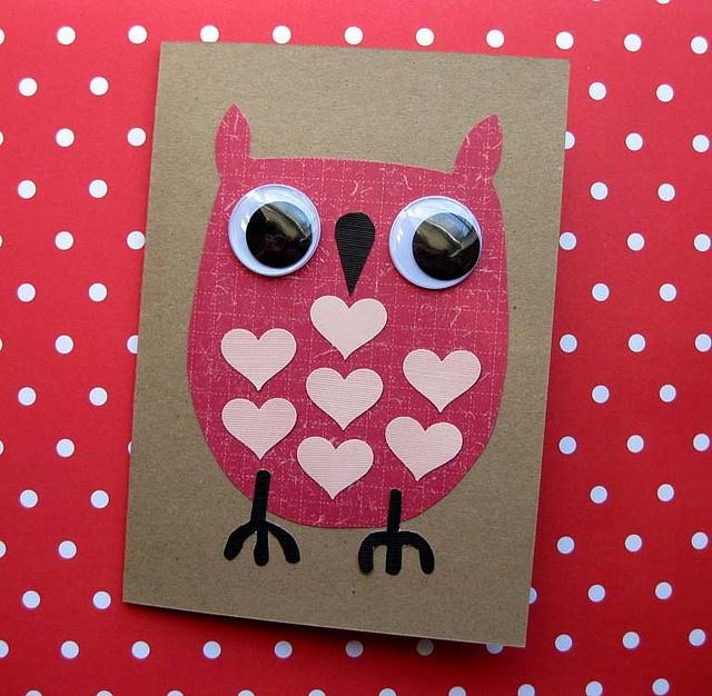 wiggle eye owl valentine #owls
