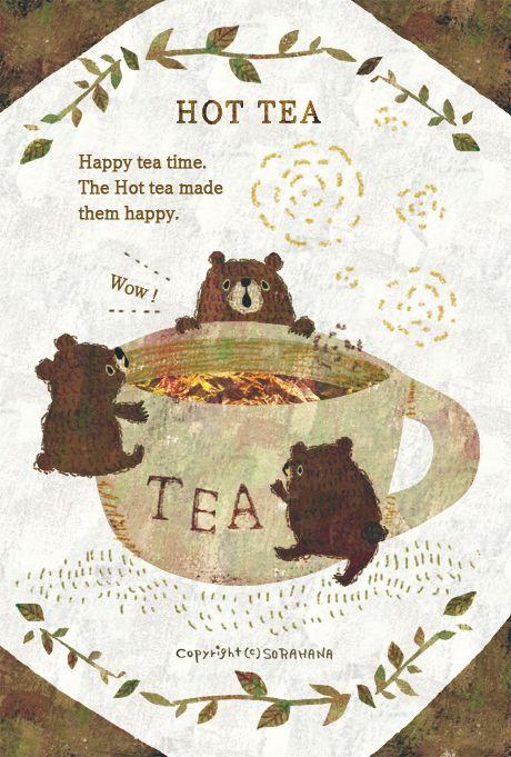 """semidarksorahana: """"HOT TEA Happy tea time. The Hot tea made them happy. by Megumi Inoue. http://sorahana.ciao.jp/ """""""