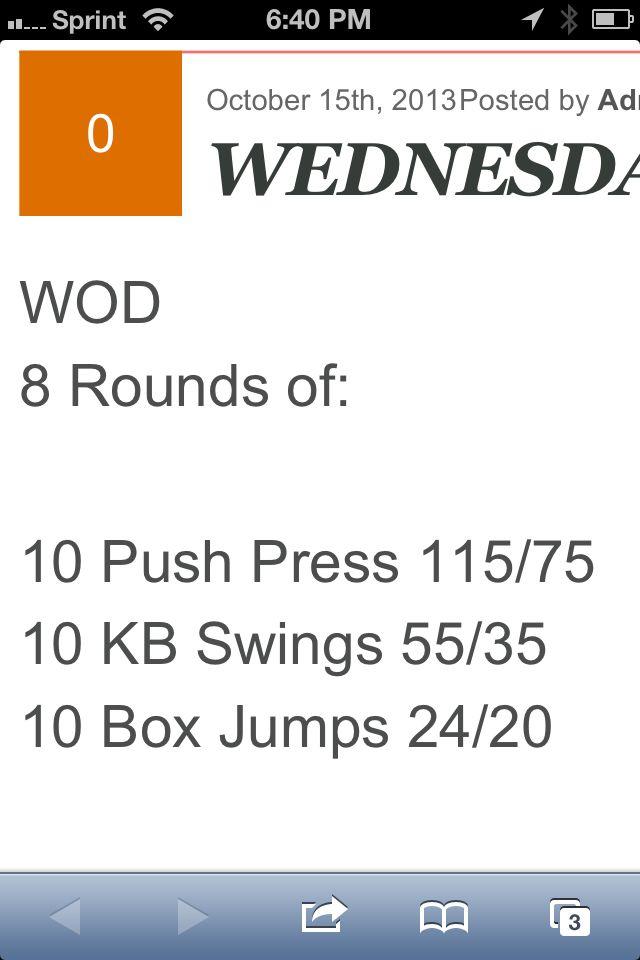 8RFT: 10 Push press (115/75), 10 KB Swings (55/35), 10 Box Jumps (24/20)