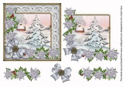 I have designed this sheet as a decoupage sheet, use 3D foam or silicone glue to build the layers up into a gorgeous vintage lace Christmas card front. The base image builds up using classic decoupage with the holly and poinsettias in contrasting red tones, this measures 5.5inches square for your cards.