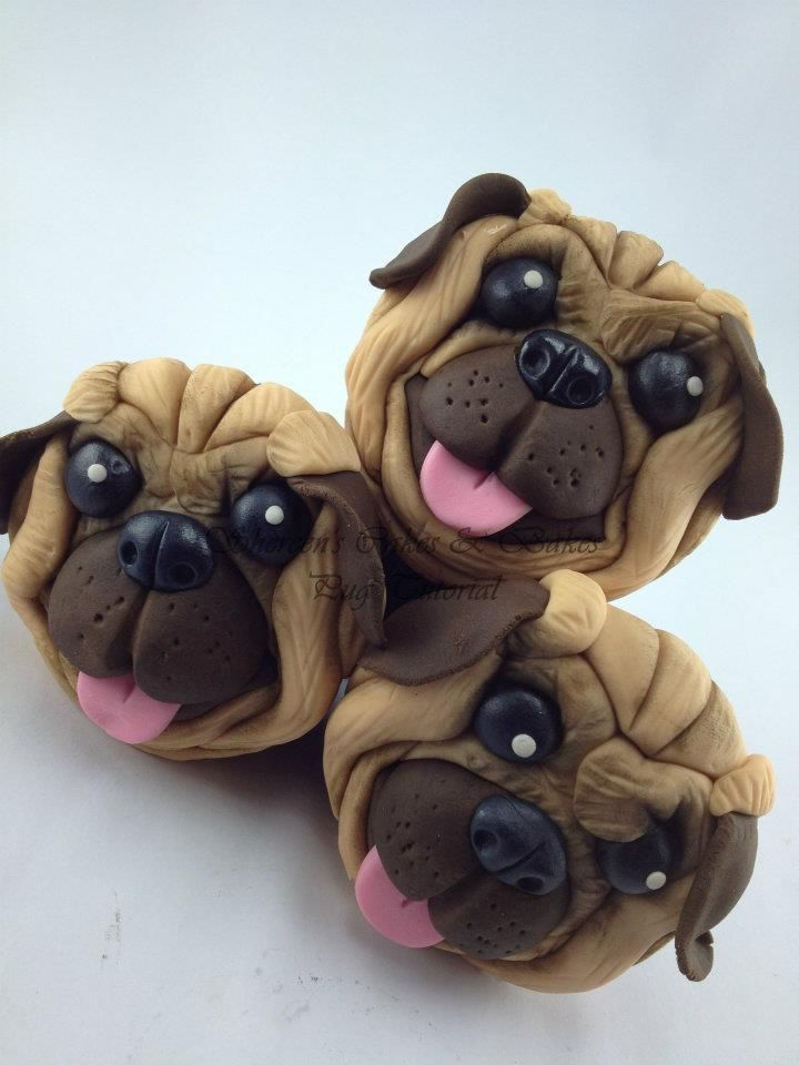 Pug Face Cupcake Topper  by Shereen's Cakes & Bakes