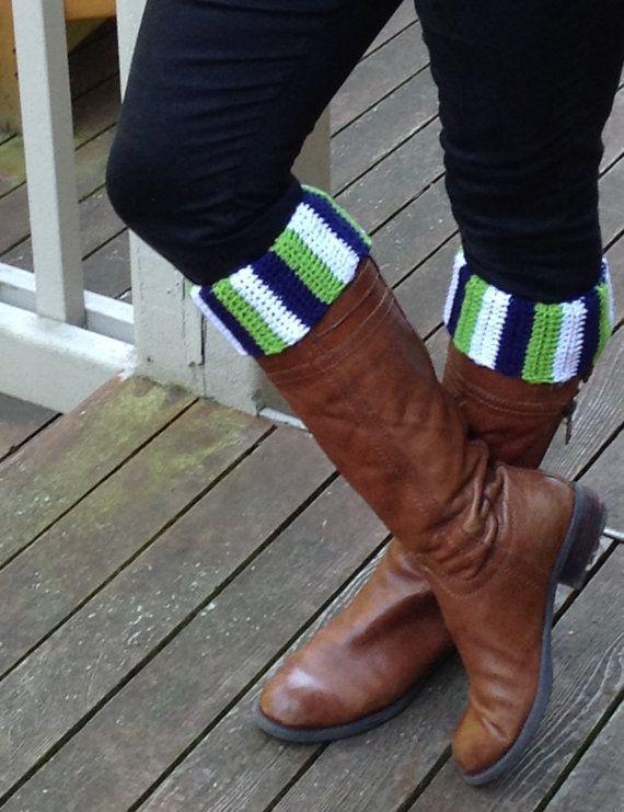 Seattle Seahawks Sounders Huskies Vikings boot cuffs football soccer crochet custom team on Etsy, $20.00