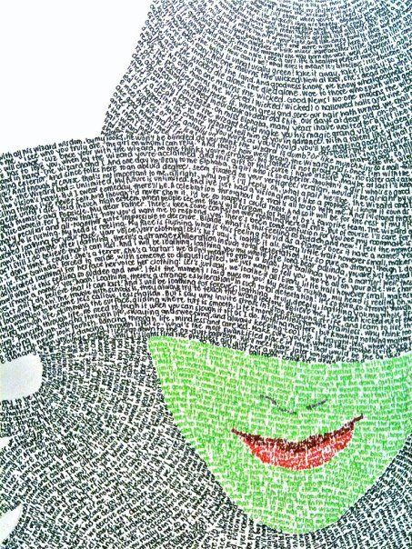 The words are lyrics of some of the songs from Wicked, and the green face is Defying Gravity. :)