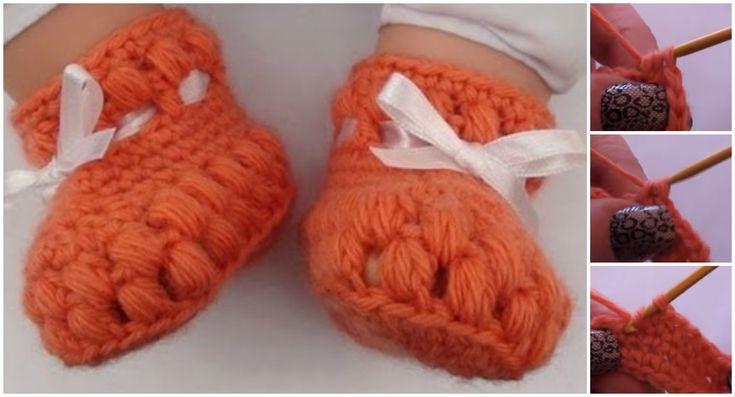 Ako na háčkovanie Puff Stitch obuv pre bábätká - Pretty Myšlienky