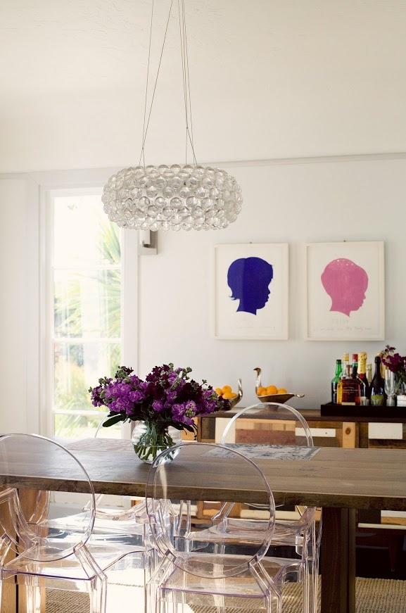 Love the mix of the Louis Ghost Chairs and the wood table A CUP OF JO: Los Angeles home tour