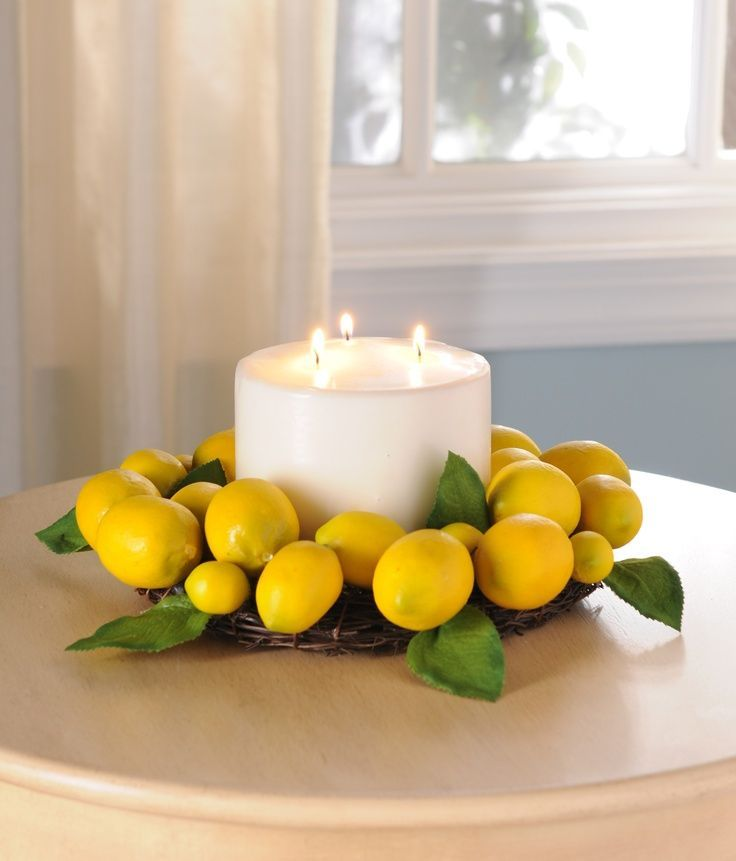 Turn A Wreath Into A Centerpiece Kirklands Creativekitchen For Your Dining Table Kitchen Table Centerpiece Lemon Decor Lemon Kitchen Decor