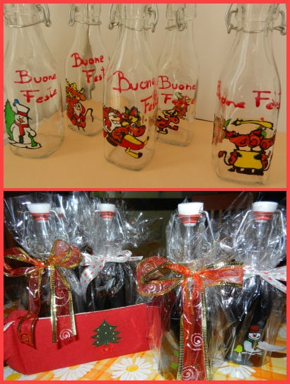 DIY Christmas Gift. Decorated glass bottles for your homemade spirits.