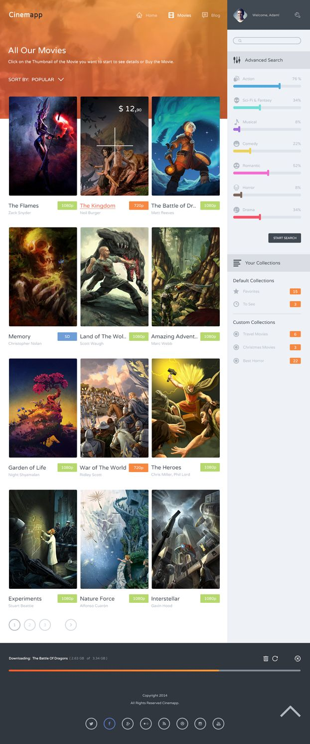 Cinemapp is a #Template #Designed for the creation of #websites for the #Cinema, the template includes all the elements necessary for the construction of a Store for #movies online, where you can buy movies directly from the site. The design is Modern, Simple, Intuitive and Clean. It also includes the #design of the #App #Cinemapp for #iPhone and #iPad.