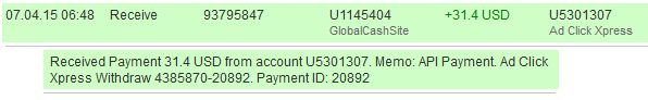 Now you can get paid to share and view entertaining Media Uploads of ACX Members.  The amount of 31.4 USD has been deposited to your Perfect Money account. Accounts: U5301307->U1145404. Memo: API Payment. Ad Click Xpress Withdraw 4385870-20892.. Date: 06:48 04.07.15. Batch: 93795847.  http://www.adclickxpress.com/?r=7k83qahtmuvr