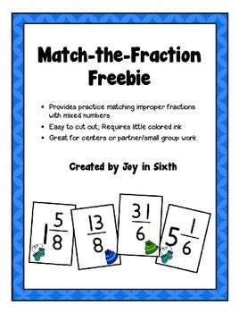 MATCH THE FRACTION:  A quick and easy-to-prep (and FREE) review for matching improper fractions to mixed numbers from Finding JOY in Sixth Grade