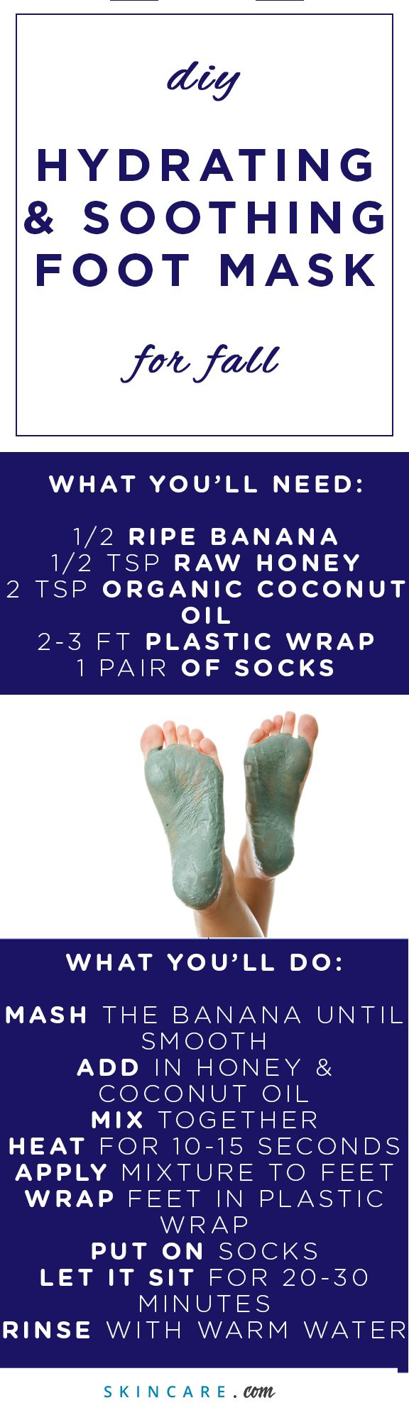 Give the skin on your feet proper care and attention with our DIY moisturizing foot mask. Perfect during a DIY pedicure or spa day, this DIY moisturizing foot mask is packed with skin benefiting ingredients, like organic coconut oil, raw honey, and a ripe banana. Soothe cracked heels and target dry skin with with our DIY moisturizing foot mask, here. | Powered by L'Oréal