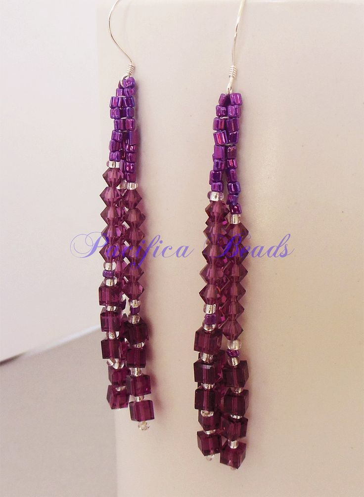 Swarovski crystal earrings dangling strands by pacificacreations on Etsy