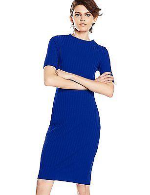 18, Blue (Cobalt), Dorothy Perkins Women's Rib Bodycon Regular Dresses NEW
