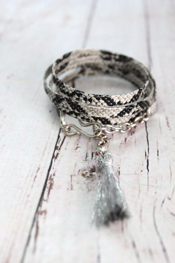 Shades of Gray WILD Python snake pattern Faux by handmadebyinali