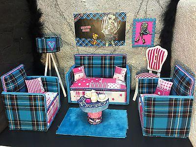 pinkrosemh-Couch-Moebel-MH-fuer-Barbie-Puppenstube-Monster-Puppe-30cm-High-Frankie