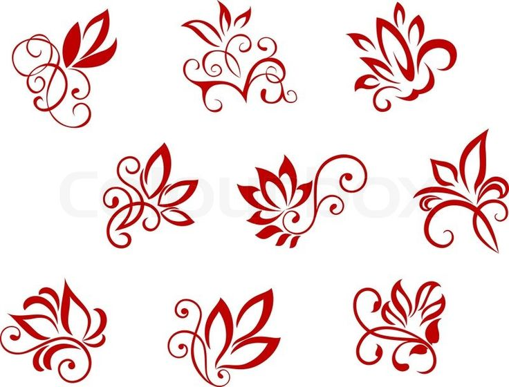 Stock vector of 'Flower patterns isolated on white for design and ornate'