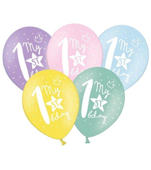 Luftballon Set My 1st Birthday Pastell 6 Stuck 1