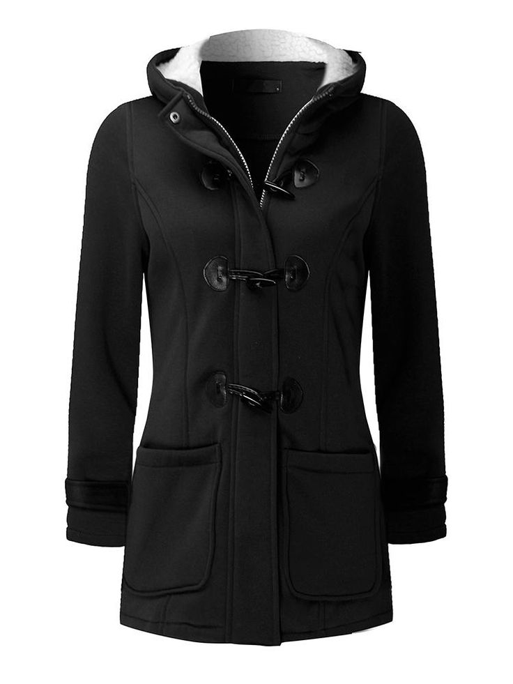 Casual Women Long Sleeve Solid Color Hooded Horn Buttons Coat at Banggood