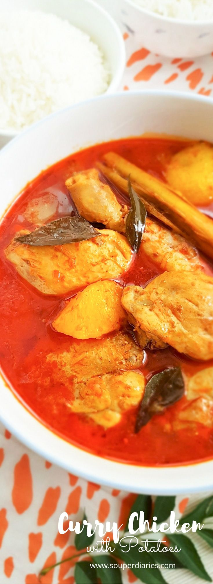 Easy Curry Chicken with Potatoes recipe. Instant curry paste, lemongrass, curry leaves and yogurt come together to create the most appetizing and delicious curry. #currychicken #chickencurry #spicyfood #spicy | souperdiaries.com