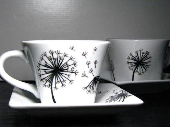 Hand Painted Cup and Saucer Set (2)- Dandelions