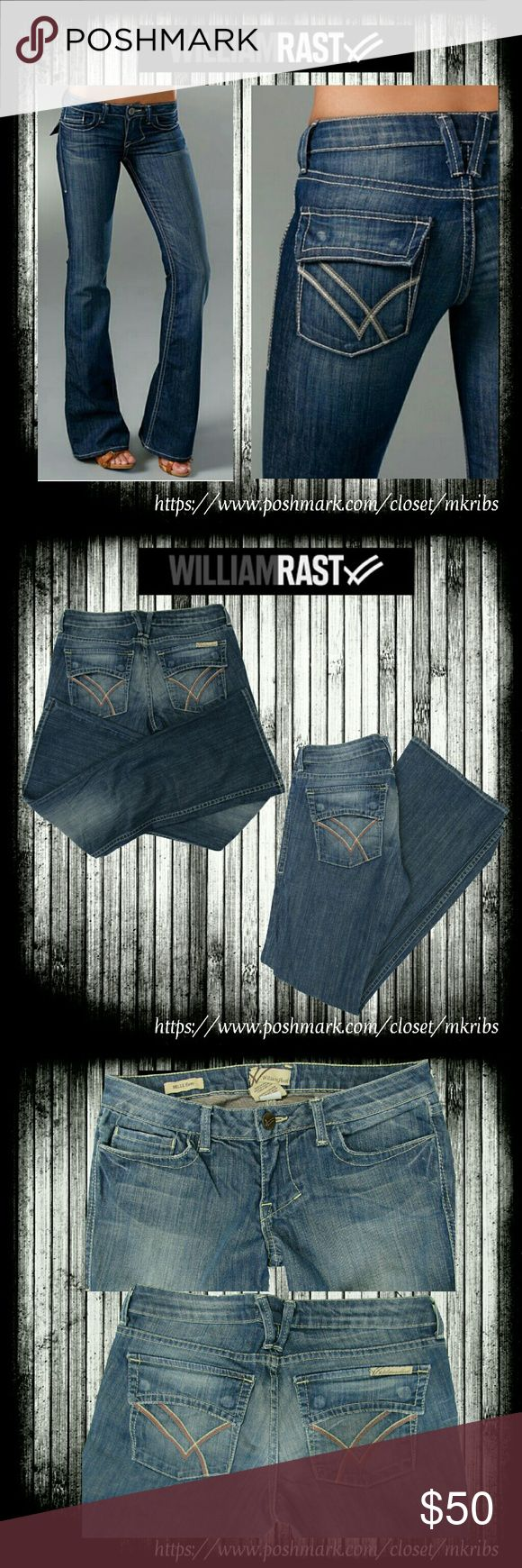 William Rast Belle Flair  jeans 28 x 34 Super flattering  William Rast Belle Flair flap pocket jeans with stretch. 1st photo is stock of exact style and color. All other photos are taken by me, 3rd photo appears lighter than actual color due to lighting. Excellent condition. 34 inch inseam. See other measurements and details above. NO TRADES PLEASE! OFFERS WELCOME THROUGH OFFER FEATURE ONLY PLEASE! William Rast Jeans Flare & Wide Leg