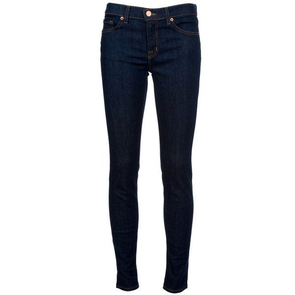 Indigo wash mid rise, skinny leg jeans from J Brand featuring front zip and button fastening, three front pockets and two back patch pockets.