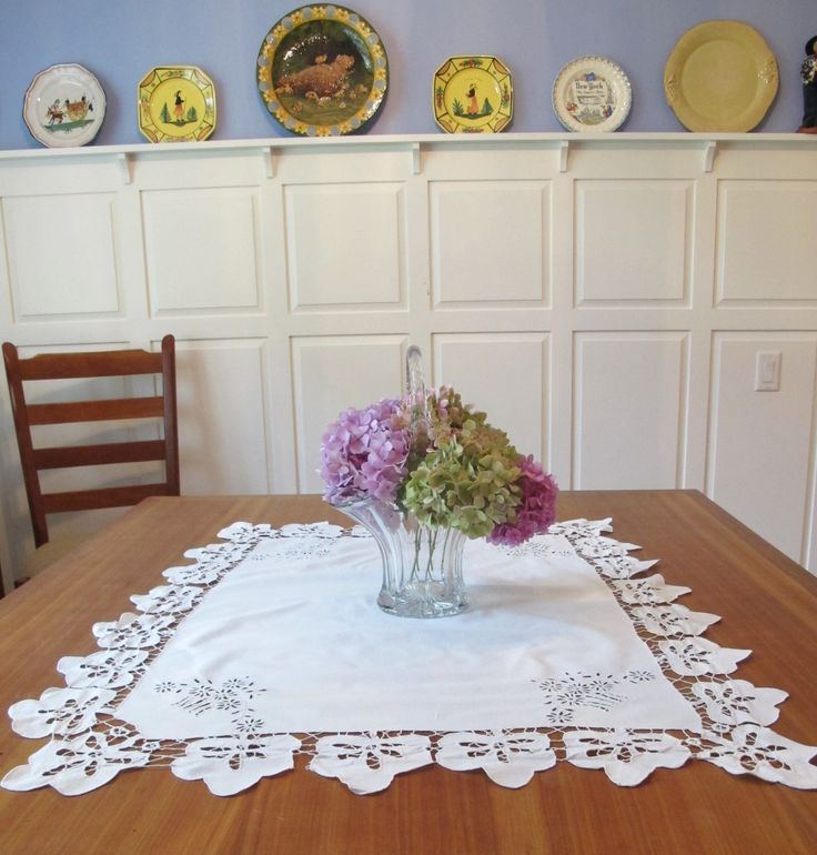Vintage Tablecloth Linen Cut Work Embroidery Flowers Square Bridge  Italian Hand Made by KathleensVintageTrea on Etsy