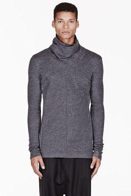 Ma Julius Grey Paneled Unisex Turtleneck Sweater