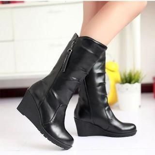 Faux-Leather Wedge Boots from #YesStyle <3 JY Shoes YesStyle.com